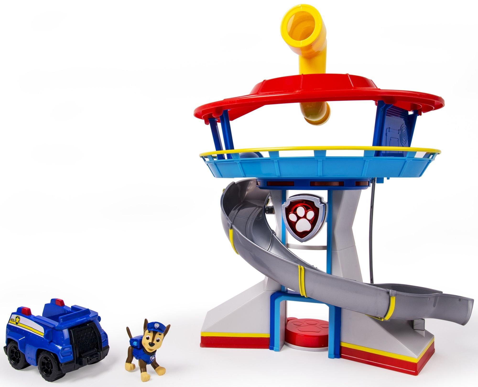 Psi Patrol Baza ze zjeżdżalnią i dźwiękami oraz figurka Chase'a z pojazdem