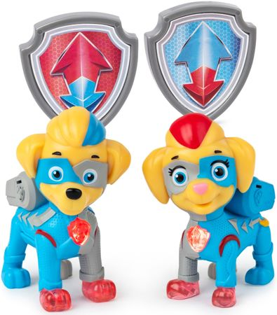Psi Patrol bliźniaki Mighty Twins 2 figurki + odznaki Mighty Pups Kosmopieski